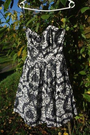Vestido de cóctel blanco-negro Algodón