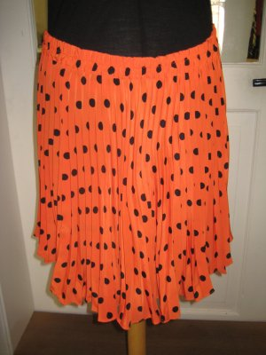 Pleated Skirt black-neon orange synthetic fibre