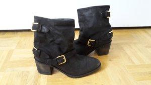 Rocker Boots Cox Stiefel schwarz Kurzschaft goldene Schnallen