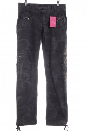 Rockgewitter Low-Rise Trousers grey brown camouflage pattern military look