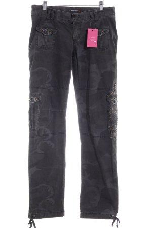 Rockgewitter Pantalon taille basse gris brun motif de camouflage style militaire