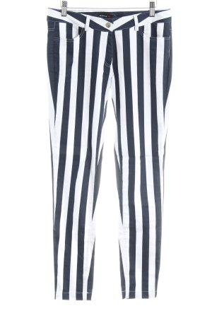 Rockgewitter Pantalone peg-top bianco-blu scuro motivo a righe stile casual