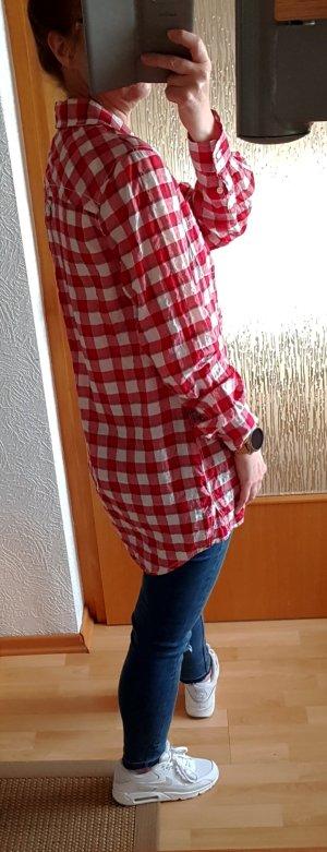 Rockgewitter Long Hemd Bluse Karohemd Karobluse Rot-weiß M Lässig weit