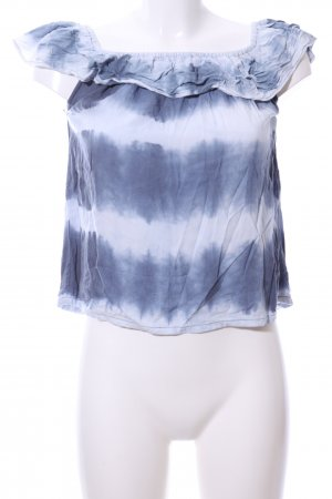 Rockgewitter Off-The-Shoulder Top blue-white abstract pattern casual look