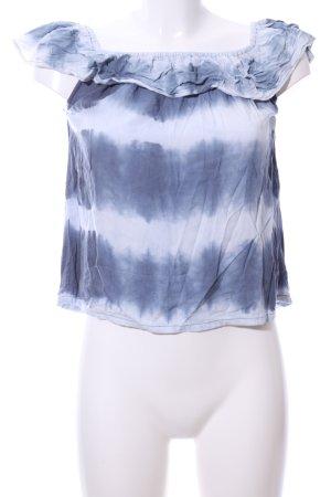 Rockgewitter schulterfreies Top blau-weiß abstraktes Muster Casual-Look