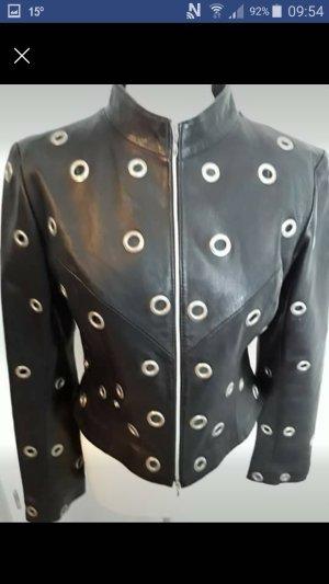 Rockige Lederjacke mit Loch-Nieten schwarz