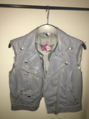 H&M Divided Leather Vest silver-colored imitation leather