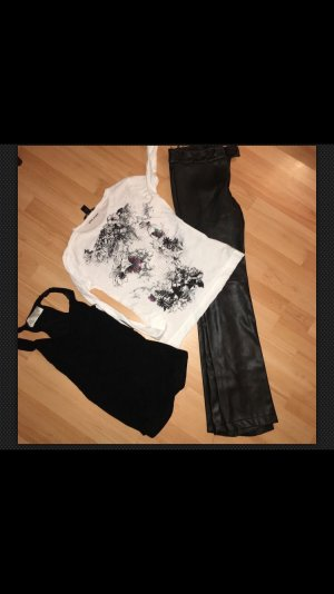 ROCKIGES SET MANGO KUNSTLEDERHOSE GR.36 Mit Tattoo-Shirt & ZARA TOP