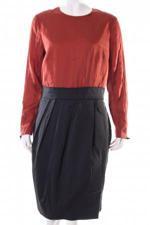 Rocksanda Ilincic Langarmkleid schwarz-rostrot Colourblocking Business-Look