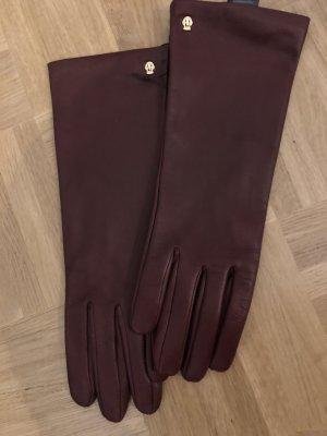 Roeckl Leren handschoenen bordeaux-roodbruin Leer