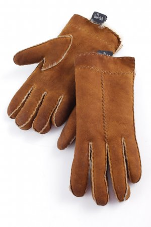 Roeckl Fur Gloves cognac-coloured-pale yellow minimalist style
