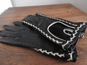Roeckl Leren handschoenen zwart-licht beige