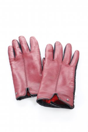 Roeckl Leather Gloves bordeaux-black material mix look