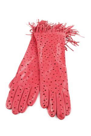 Roeckl Leather Gloves dark red spot pattern classic style