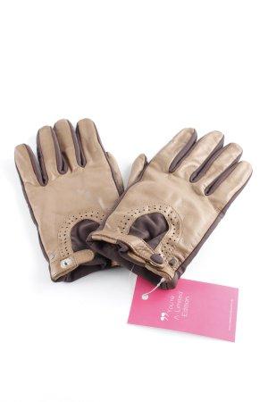 Roeckl Leren handschoenen lichtbruin-zwart bruin dandy stijl