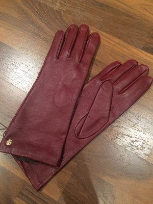 Roeckl Leather Gloves dark red-carmine leather