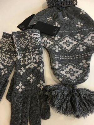 ROECKL SET Mütze und Handschuhe Einheitsgrösse Grau/Ecru