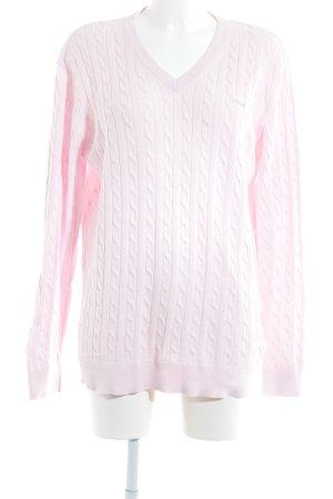Röhnisch V-Ausschnitt-Pullover hellrosa Zopfmuster Casual-Look