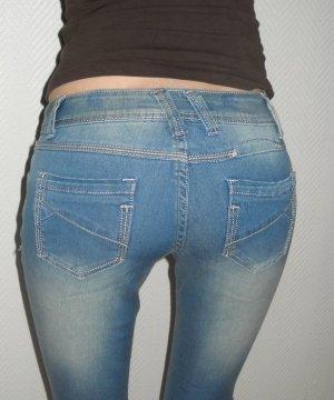 Röhren Jeans Hose Waschung h m Bund jeans blau 32 34 36 XXS XS S neu