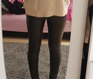 H&M Leren broek zwart-zilver