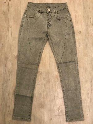 Pantalone a sigaretta grigio-verde-cachi