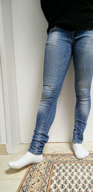 Zara Pantalon cigarette bleu fluo
