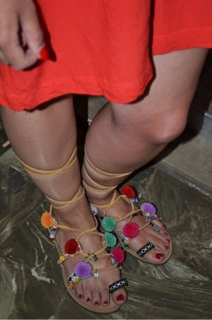 Romeinse sandalen beige Imitatie leer