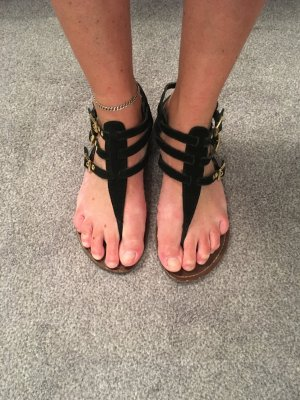 Steve Madden Roman Sandals black-gold-colored suede
