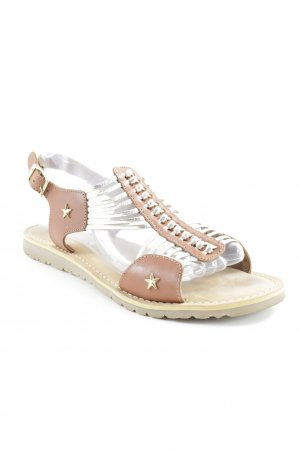 Roman Sandals cognac-coloured-silver-colored casual look