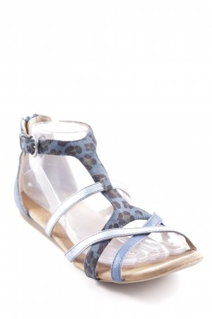 Roman Sandals cornflower blue leopard pattern casual look