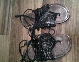Römer-Sandalen zum binden (schwarz)