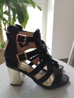High-Heeled Sandals black-dark yellow