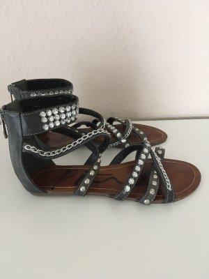 Sandalias color plata-negro Imitación de cuero
