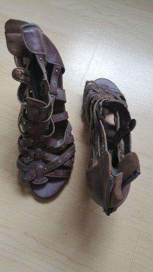 Sandalo con cinturino e tacco alto marrone-grigio-bronzo