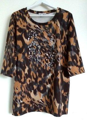 Rössler Selection Damen Shirt 3/4 Arm braun Silberglänzender Druck Gr. 48