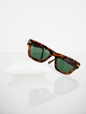 Rötlichbraun gemusterte Vintage Sonnenbrille mit eckigen Gläsern
