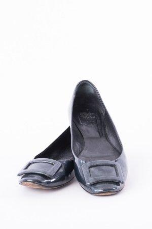Roger vivier Bailarinas de charol con tacón azul oscuro-negro Cuero