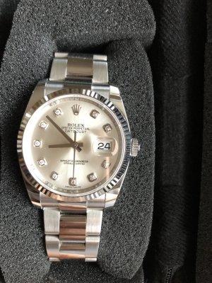 Rolex Datejust 36 Weißgold/Oystersteel, silbernes Ziffernblatt mit 10 Diamanten (nur zum Abholen in Frankfurt)