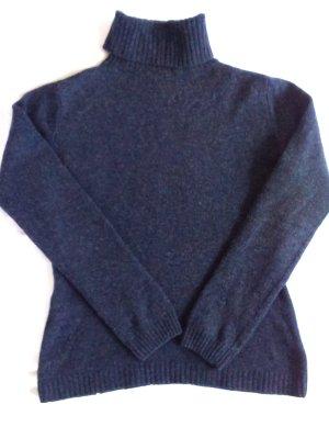 Rollkragen Pulli aus reiner Wolle dunkelblau