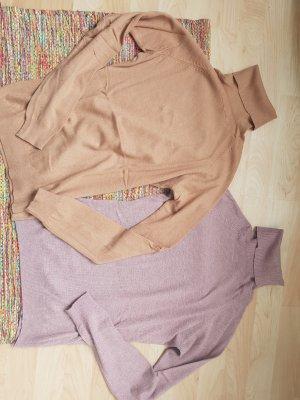 Rollkragen Pullover Kaschmir pastell beige flieder Gr. S/M