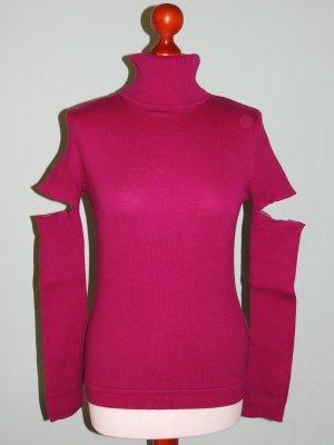 Rollkragen-Pullover mit Loch in den Ärmeln pink purpur Gr. 36