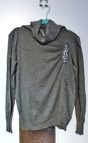 Rollkragen-Pullover mit Strassdetail