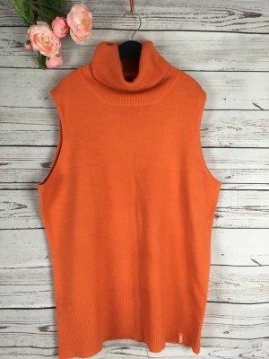 Rollkragen Pullover ohne Ärmel Orange
