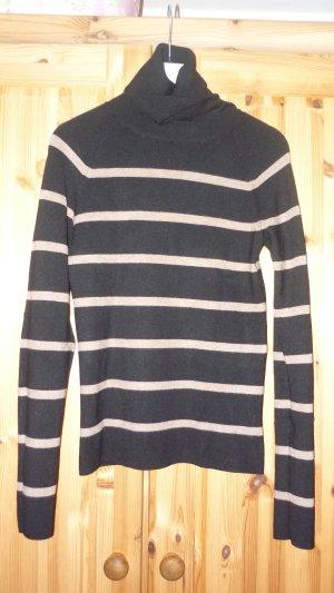 Rollkragen Pullover schwarz mit beigen Streifen Größe L