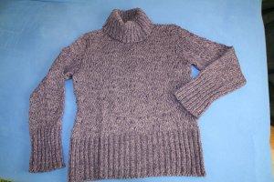 Rollkragen-Pullover von APART, Ajourmuster, lila-meliert