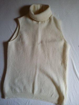 Benetton Cardigan en maille fine blanc cassé laine vierge