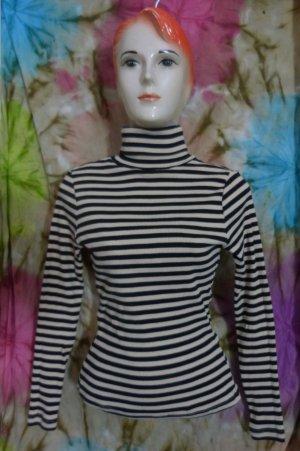 Rollkragen Shirt, schwarz-weiß-gestreift, Gr. S