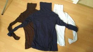 Rollkragenpulli-Set - BASICS - (dunkelbraun, dunkelblau und weiß)