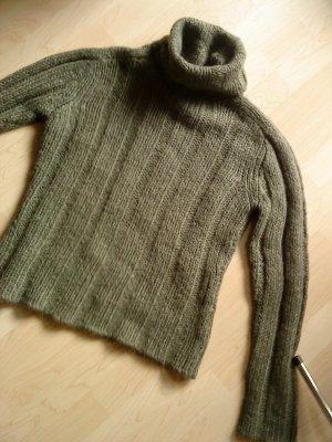 Rollkragenpullover grüngrau in M,von HM mit Wolle