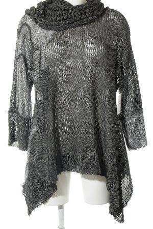 Jersey de cuello alto negro-color plata moteado look casual